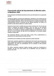 Comunicado oficial del Ajuntament de Morella sobre la MedXtrem 2020